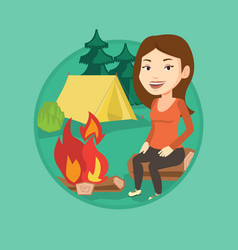 woman sitting on log near campfire in the camping vector image
