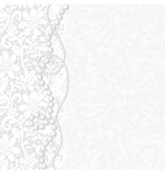 card with lace and pearls vector image