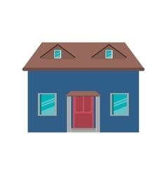 cartoon blue house red door simple vector image vector image