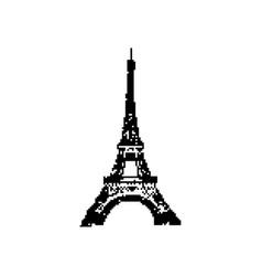 eiffel tower 8 bit minimalistic pixel art vector image