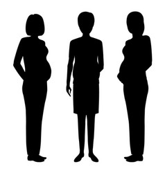 group of three pregnant women black silhouettes vector image