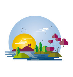landscape flat style vector image