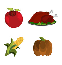 thanksgiving day apple turkey corn pumpkin vector image