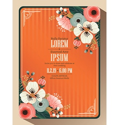 Abstract floral wedding invitation card vector image