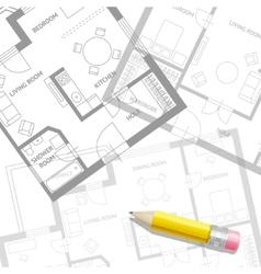 furniture architect plan background Flat vector image