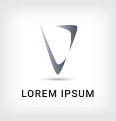 letter v logo triangle style design template vector image