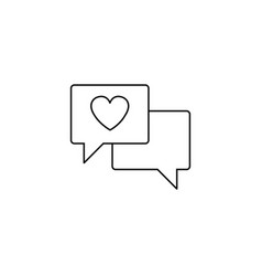 love chat line icon heart in speech bubble vector image vector image