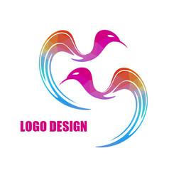modern bright colored triangular bird logo vector image vector image