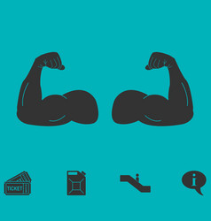 Muscular arm icon flat vector