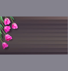 Realistic colorful pink tulips set on vector