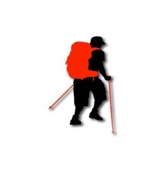 Silhouette of hiker vector image