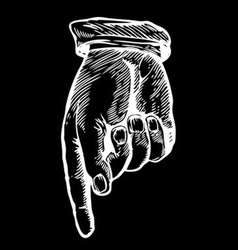 Sketch of a Hand Pointing Down vector image vector image