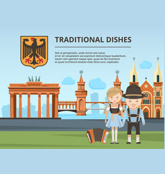 urban landscape with germany landmarks and peoples vector image