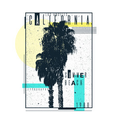 a poster on a t-shirt with palm trees of vector image