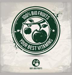 alternative bio fruit stamp vector image