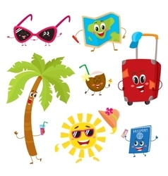 Attributes of summer vacation travel to tropics vector