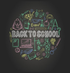 Banner back to school with school supplies vector
