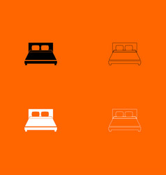 Bed black and white set icon vector