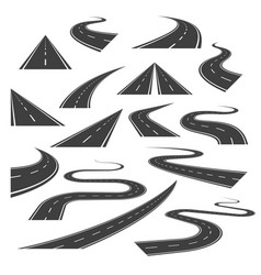 Big set of asphalt road curves turns bankings vector