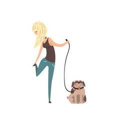 blonde girl walking her pug dog vector image