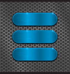 Blue oval plates on metal perforated background vector