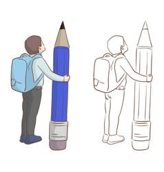 Boy with school bag holding big pencil vector