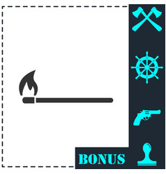 burning match icon flat vector image