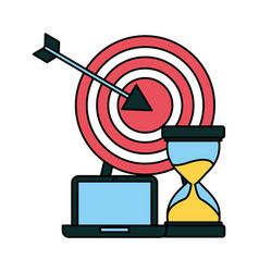 Business laptop hourglass coins and target vector