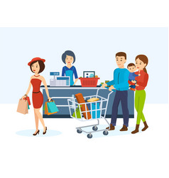 Buyers go around store in order to purchase goods vector