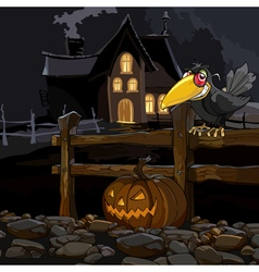 cartoon house at night with a crow with a pumpkin vector image