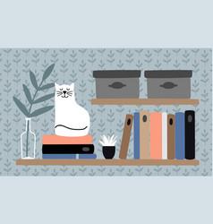 cat on book shelf vector image
