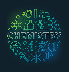 Chemistry colored concept round outline vector