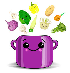 Childrens poster with food saucepan with cute vector