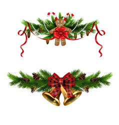 Christmas decorations with fir tree golden jingle vector