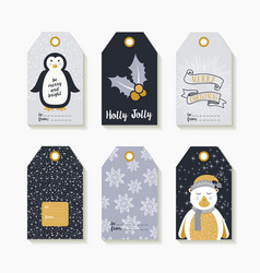 christmas set of labels and tags for holiday gifts vector image