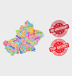 Collage safeguard xinjiang uyghur region map vector