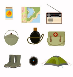 Collection of collected sets for camping tent vector