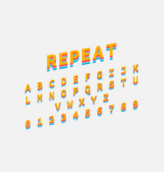 colorful repeat font reto bold font alphabet in vector image