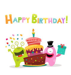 Cute monsters with birthday cake vector