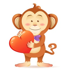 Cute toy Monkey pet isolated holding heart vector image