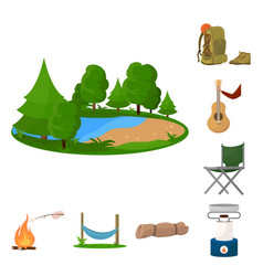 Design picnic and adventure sign set of vector