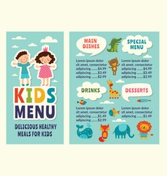 Design template of kids menu with colored funny vector