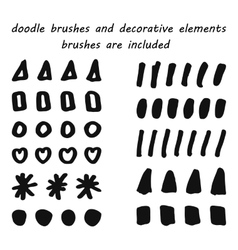 Doodle ink brushes and hand drawn decorative vector image