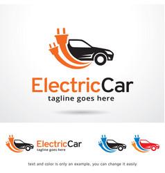 Electric car logo template design vector