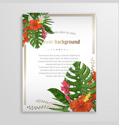 Exotic tropical flower background with vector