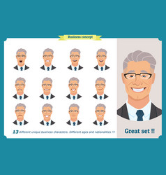 Face expressions of a businessman vector