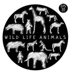 Fauna doodle set vector