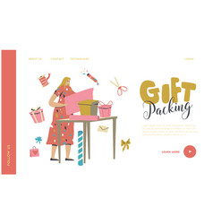 Female character making and packing gifts landing vector