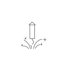 firework rocket sparkle line icon black on white vector image