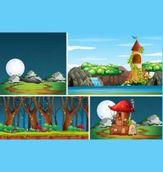Four different scene nature fantasy world vector